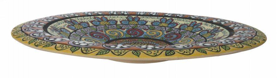Centrotavola o piatto da muro decoro a mano, linea fenice di Ceramiche Liberati.