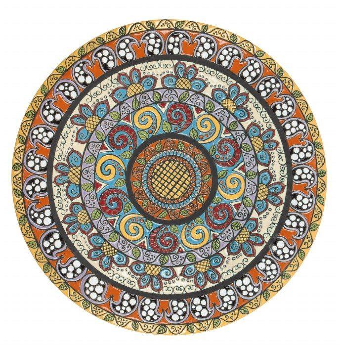 Piatto da muro o centrotavola decoro fenice, D51. Ceramiche Liberati