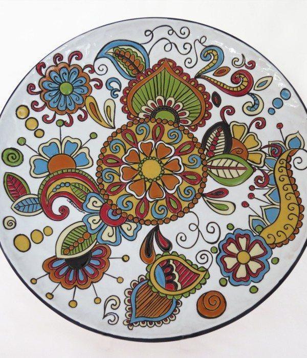 Piatto decoro floreale fenice, Ceramiche Liberati