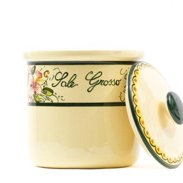 Barattolo in ceramica per sale grosso orchidea, ceramiche Liberati.
