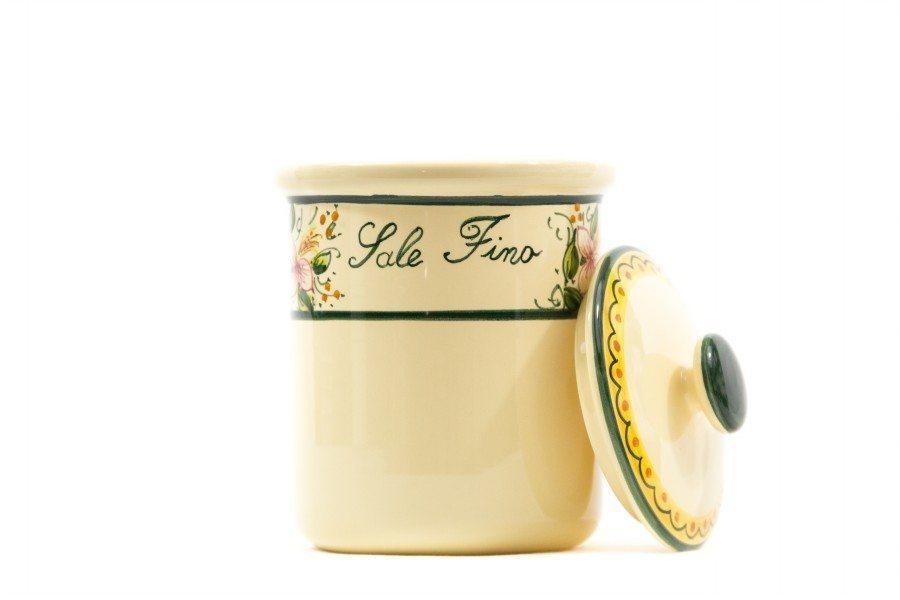 Barattolo in ceramica maiolica per sale fino, Ceramiche Liberati.