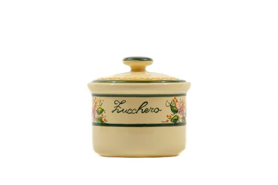 Barattolo in ceramica per zucchero orchidea, Ceramiche Liberati