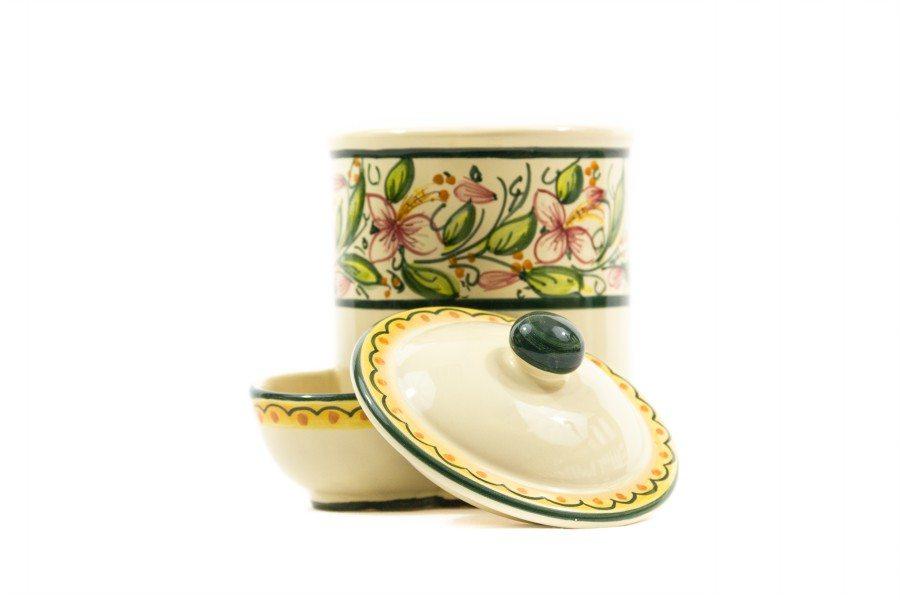 Barattolo in ceramica per sale con vaschetta orchidea, Ceramiche Liberati