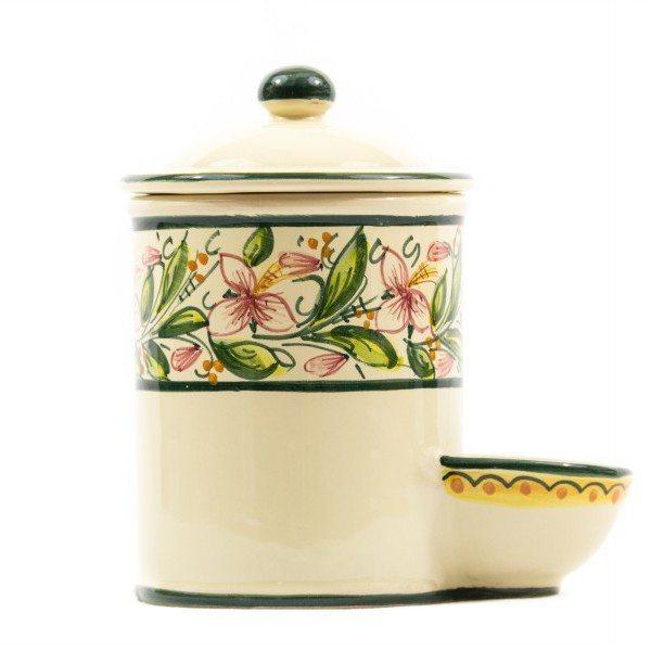 Barattolo per sale con vaschetta decoro Orchidea, Ceramiche Liberati