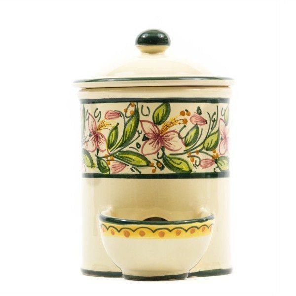 Barattolo in ceramica con vaschetta e coperchio per sale, Ceramiche Liberati