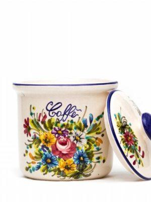 Barattolo in ceramica per caffè decoro fioraccio, Ceramiche Liberati