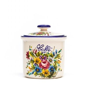 Barattolo in ceramica per caffè fioraccio, Ceramiche Liberati
