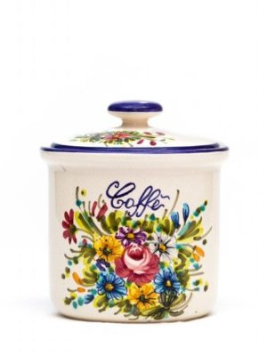 "Coffee ceramic jar with decoration ""Fioraccio"", Ceramiche Liberati"