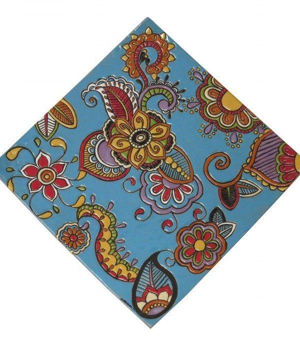Piatto da muro quadrato in cuerda seca , Ceramiche Liberati