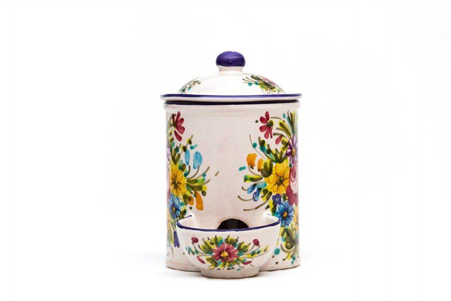 Barattolo in ceramica con vaschetta per sale, Ceramiche Liberati