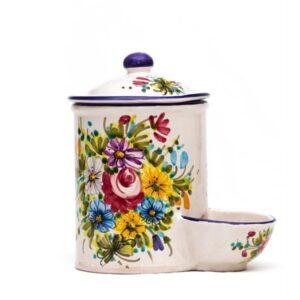 Barattolo in ceramica con vaschetta sale Fioraccio, Ceramiche Liberati