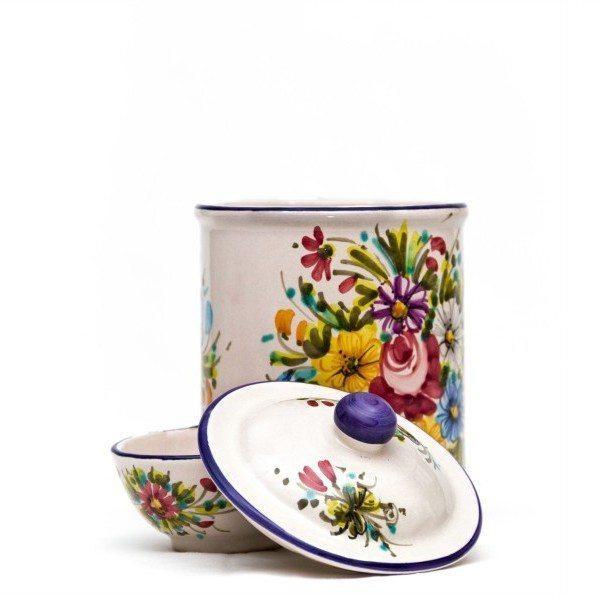 Barattolo in ceramica per sale con vaschetta