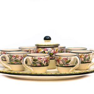 Servizio caffe da 8 con zuccheriera in ceramica artigianale, Ceramiche Liberati