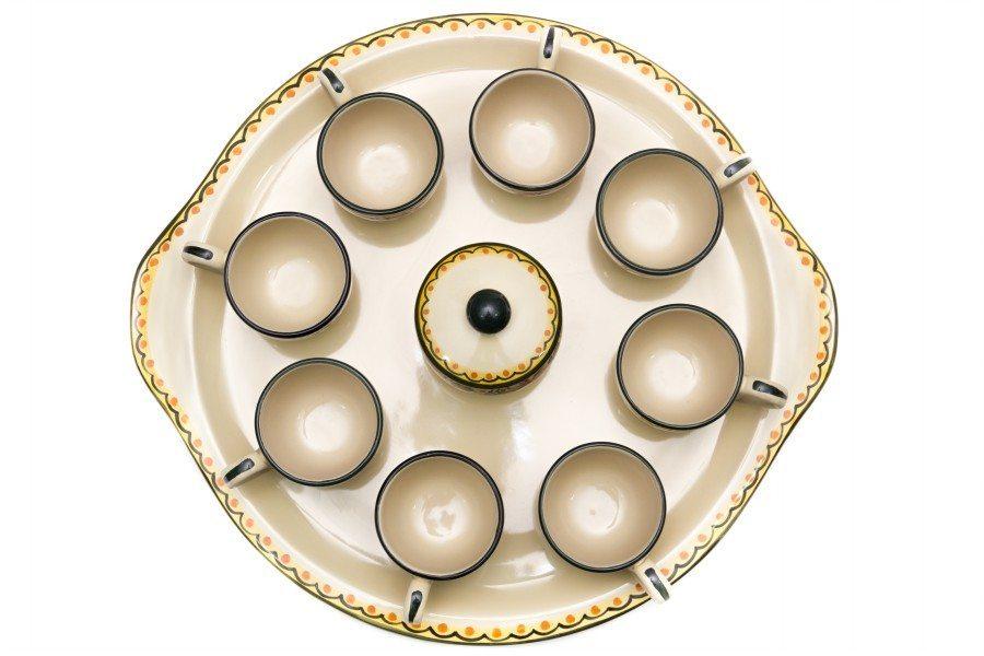 Servio da caffè in ceramica per otto persone, Ceramiche Liberati