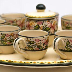 Servizio da caffè per otto decoro orchidea, Ceramiche Liberati