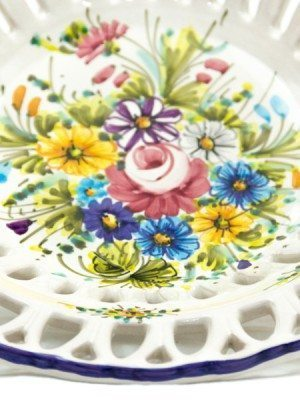 Ceramic centerpiece with Rapino fretwork, Fioraccio decoration, Ceramiche Liberati