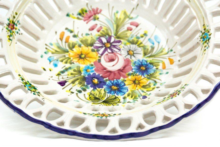 Ceramic centerpiece with Rapino fretwork, Fioraccio decoration, Ceramiche Liberati