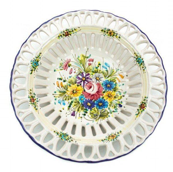 Centrotavola in ceramica con traforo rapino, decoro fioraccio, ceramiche Liberati.