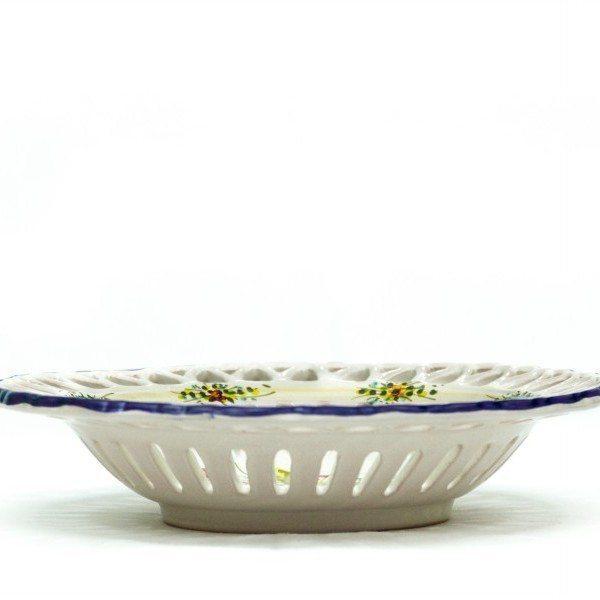 Centrotavola in ceramica traforo rapino, decoro fioraccio, ceramiche Liberati.