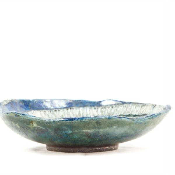 Centrotavola in ceramica raku decoro spirale bicolore, Ceramiche Liberati.