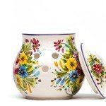 Portacipolla in ceramica per cipolla decoro fioraccio, Ceramiche Liberati.