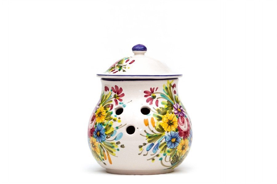 Barattolo in ceramica per aglio decoro fioraccio, Ceramiche Liberati.