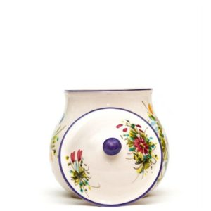 "Ceramic garlic jar with decoration ""Fioraccio"", Ceramiche Liberati"