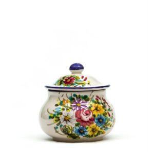 Barattolo in ceramica per peperoncino decoro fioraccio, Ceramiche Liberati.