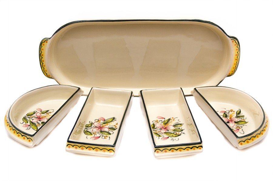 Set per antipasto o aperitivo in ceramica decorato a mano, Ceramiche Liberati