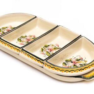 ceramic appetizer set Orchidea, Ceramiche Liberati, Italy