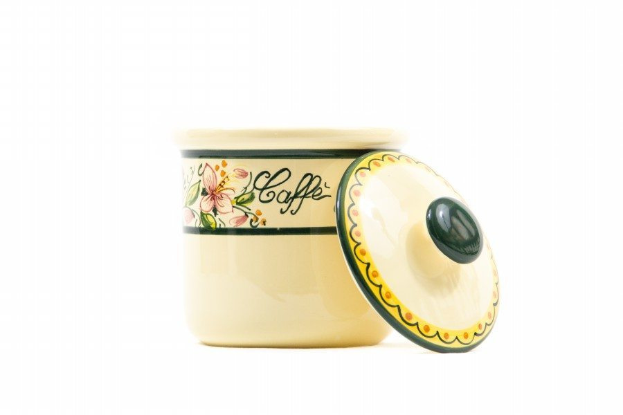 Barattolo in ceramica per caffè orchidea, Ceramiche Liberati