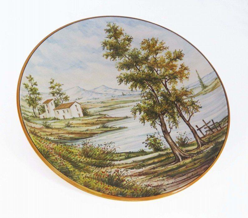 Piatto in ceramica Abruzzo da muro con paesaggio, Ceramiche Liberati