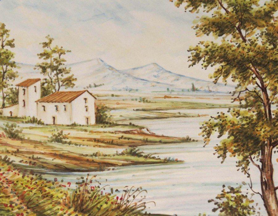 Piatto in ceramica Abruzzo tradizionale con paesaggio, Ceramiche Liberati
