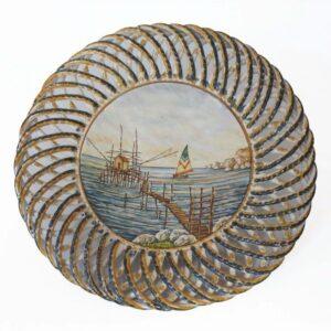 Centrotavola in ceramica con fasci intrecciata Trabocco abruzzese, Ceramiche Liberati