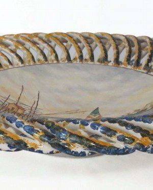 Centrotavola in ceramica italiana, realizzato e dipinto a mano, Ceramiche Liberati