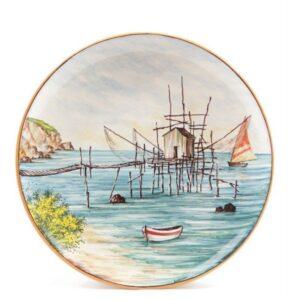 Piatto in ceramica da muro, dipinto a mano, trabocco, Ceramiche Liberati