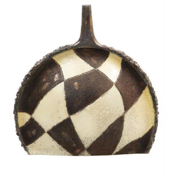 Bottiglia a scacchi in ceramica raku, ceramiche Liberati