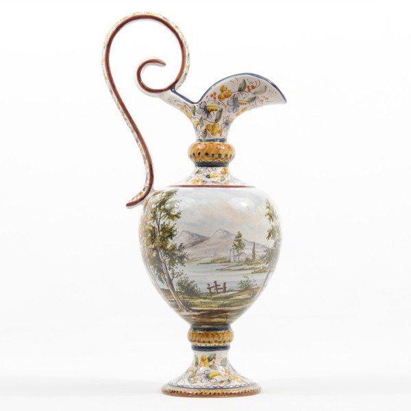 Anfora in ceramica italiana, paesaggio, Ceramiche Liberati