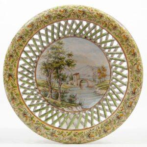 Centrotavola in ceramica, Paesaggio e intreccio, Ceramiche Liberati