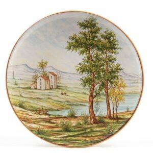 Piatto in ceramica da muro, paesaggio, Ceramiche Liberati