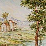 Piatto da muro in ceramica, paesaggio d'Abruzzo, Ceramiche Liberati