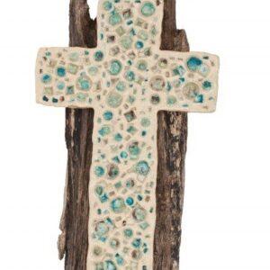 Croce in ceramica bianca refrattaria con supporto di legno, Ceramiche Liberati