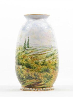 Vaso in ceramica, decorato a mano, paesaggio, Ceramiche Liberati