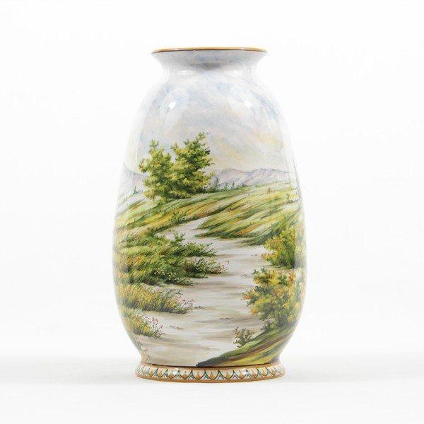 Vaso in ceramica Abruzzo, decorato a mano, paesaggio, Ceramiche Liberati