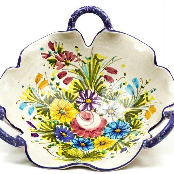 Fruttiera in ceramica con manici, fioraccio, Ceramiche Liberati