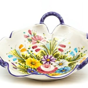 Fruttiera in ceramica bordo smerlato, fioraccio, Ceramiche Liberati