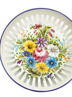 Ceramic fruit bowl or pocket emptier Fioraccio, Ceramiche Liberati