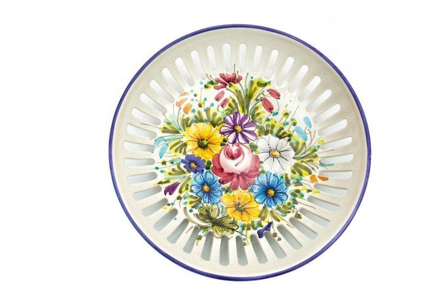 Fruttiera o svuotatasche in ceramica, fioraccio, Ceramiche Liberati