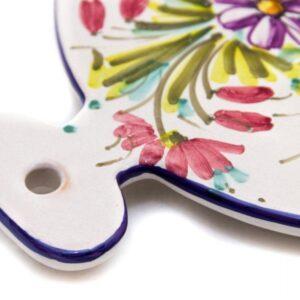 Sottopentola o tagliere in ceramica, fioraccio, Ceramiche Liberati