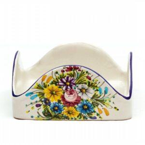 Portatovaglioli quadrato in ceramica, fioraccio, Ceramiche Liberati